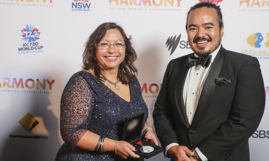Juana_Reinoso_and_Adam_Liaw at the 2019 Premier's Harmony Dinner held at the Grand Pavilion, Rosehill Gardens Racecourse.